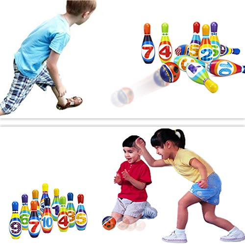 iPlay, iLearn Kids Bowling Toys Set, Toddler Indoor Outdoor Activity Play Game, Soft 10 Foam Pins & Two Balls Playset…