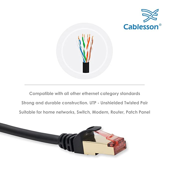 Cablesson 20m Cat7 Ethernet cable de red LAN Gigabit (RJ45), Cable de conexión de alta velocidad, Diseño 10Gbps para 600Mhz/s STP moldeado para conmutador, ...