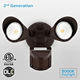 Dual-Head Motion Activated LED Security Light with Photocell, Waterproof Outdoor Area Lighting, DIM Mode Available, 5000K Daylight, 25W (200W Halogen Equiv.) for Yard, Garage, Porch, Bronze