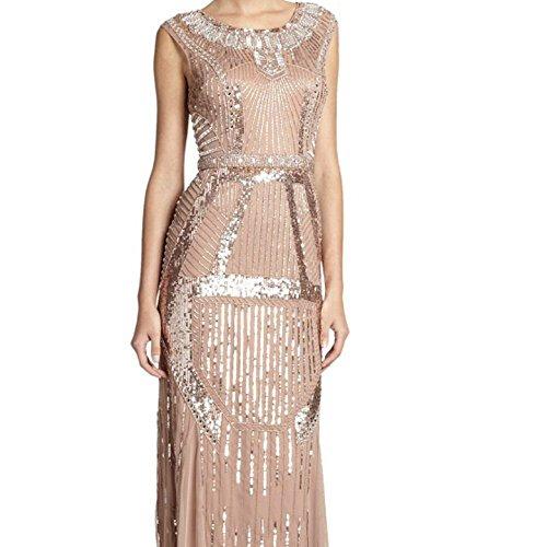 Aidan Mattox Deco Print Beaded Evening Gown Dress