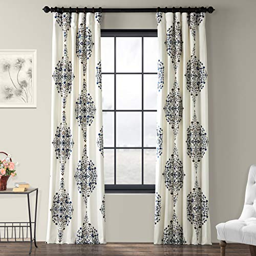 Half Price Drapes PRTW-D41-108 Kerala Printed Cotton Twill Curtain, 50 x 108, Blue