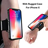 iPhone X Armband, SPORTLINK Sports Wristband Dual Layer Rugged Case, Easy Mount Phone Holder Running Jogging Gym Exercise Workouts (Black)