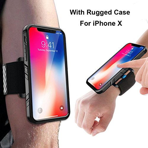 iPhone X Armband, SPORTLINK Sports Wristband Dual Layer Rugged Case, Easy Mount Phone Holder Running Jogging Gym Exercise Workouts (Black) by Sportlink