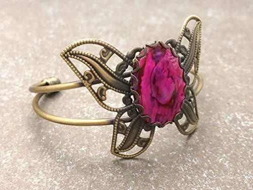 Antique Butterfly Bracelet - Butterfly Adjustable Bracelet with Paua Shell Cabochon