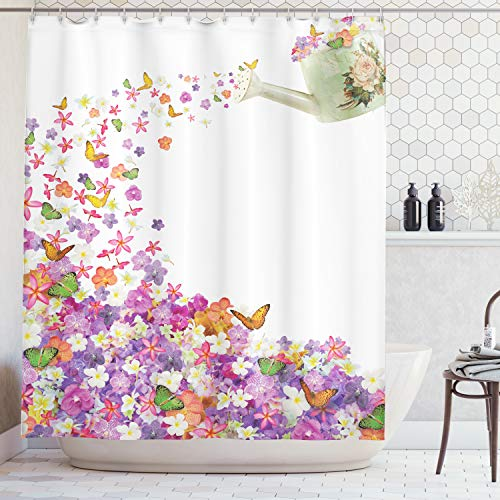 Ambesonne Colorful Flowers Shower Curtain Floral Decor by, Pansy and Rose Butterfly Leaves Blossom Themed Abstract Painting, Orange Violet White Aubergine, Fabric Bathroom Set with Hooks, Green Yellow