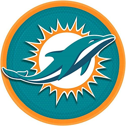 Miami Dolphins Lunch Plates NFL Football Sports Party Disposable Tableware, Paper, 9