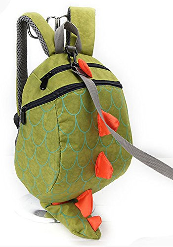 Zhuannian Toddler Kids Dinosaur Backpack with Leash(Green)