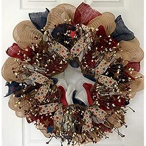 Patriotic Americana Pip Twig Berry Wreath Handmade Deco Mesh 17