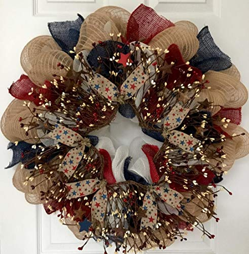 Patriotic Americana Pip Twig Berry Wreath Handmade Deco Mesh -