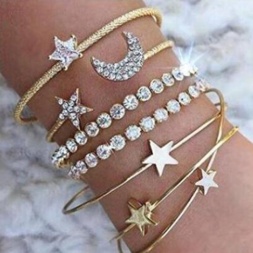 Jovono Hollow Hoop Open Bracelet Ended Wide Bangle Cuff with Rhinestone for women and girls(4 pcs) (Gold) Austrian Crystal Bangle Cuff Watch