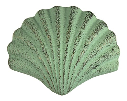 Chesapeake Bay Scallop Shaped Drawer Pull Verdi Green Painted Cast Iron