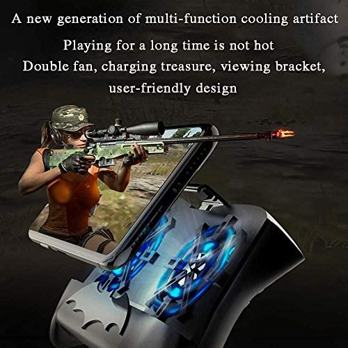 XHMCDZ 携帯電話用ラジエータ/携帯電話ホルダー/クランプ/クリップ付き携帯ゲームコントローラPUBG 3-in-1ゲームパッドシュートおよびAndroidおよびiOS用ポイントフォン冷却装置パワーバンクに対応 (Color : White)