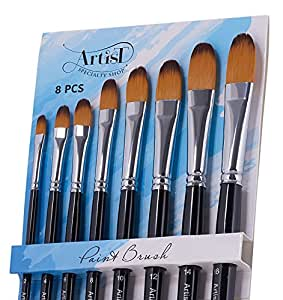 SALE! The Best Artist Paint Brushes - 8 Filbert Brushes PLUS Four Mini Palettes for Acrylics, Oil & Face Painting and Watercolors by Artists Specialty Shop