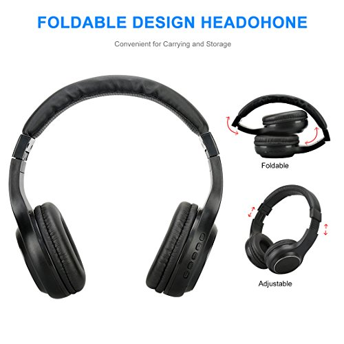 Wireless Headphones, V4.0 Stereo Bluetooth Headphones with Microphone Over-Ear Foldable Portable Music Headsets for Cellphones Laptop Tablet TV Headphones (Black) by Konstar (Image #3)