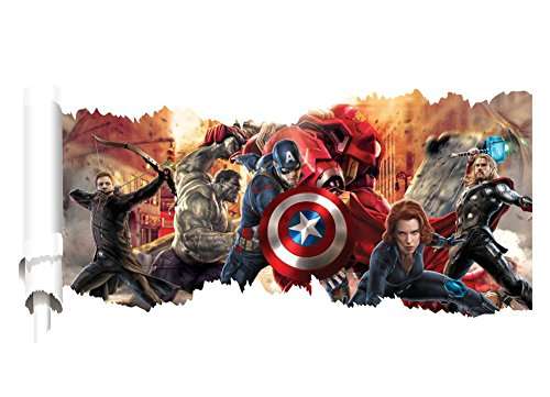 Removable 3D View The Avengers Captain America Art Mural Vinyl Waterproof Wall Stickers Kids Room Nursery Decor Decal (Avengers Wall Decal)
