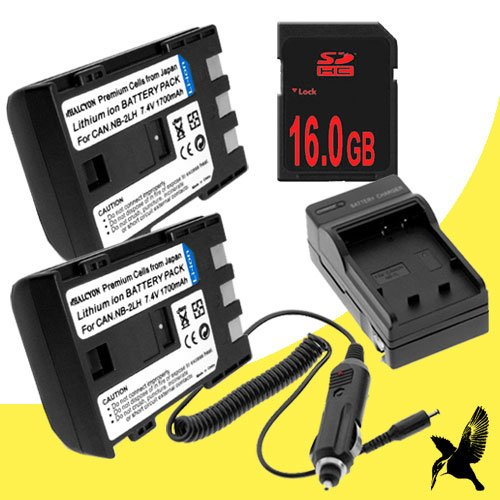 Two Halcyon 1700 mAH Lithium Ion Replacement Battery and Charger Kit + 16GB Compact Flash Memory Card for Canon Rebel XT 8MP Digital Camera and Canon NB-2LH by DavisMAX
