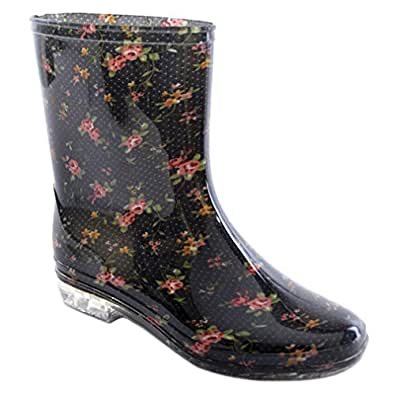 Amazon.com | Ladies Short Floral/Flower Print Wellies