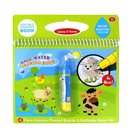 Jenilily Magic Water Drawing Book Coloring Book Doodle with Magic Pen Painting Board for Children Education Drawing Toy (F Cartoon Animal)
