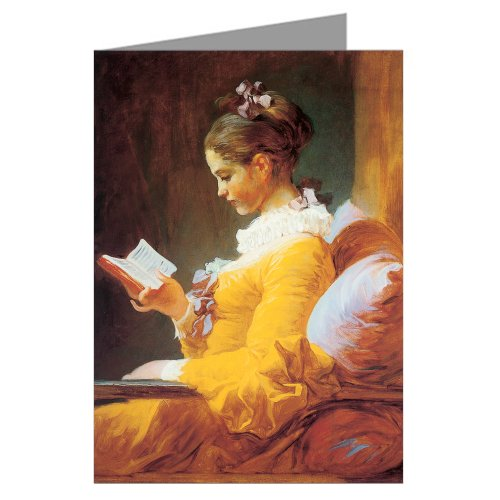 Jean-Honore Fragonard Fine Art Painting Titled A Young Girl Reading, 1776 Greeting Card Boxed Set (Oil Painting Reading)