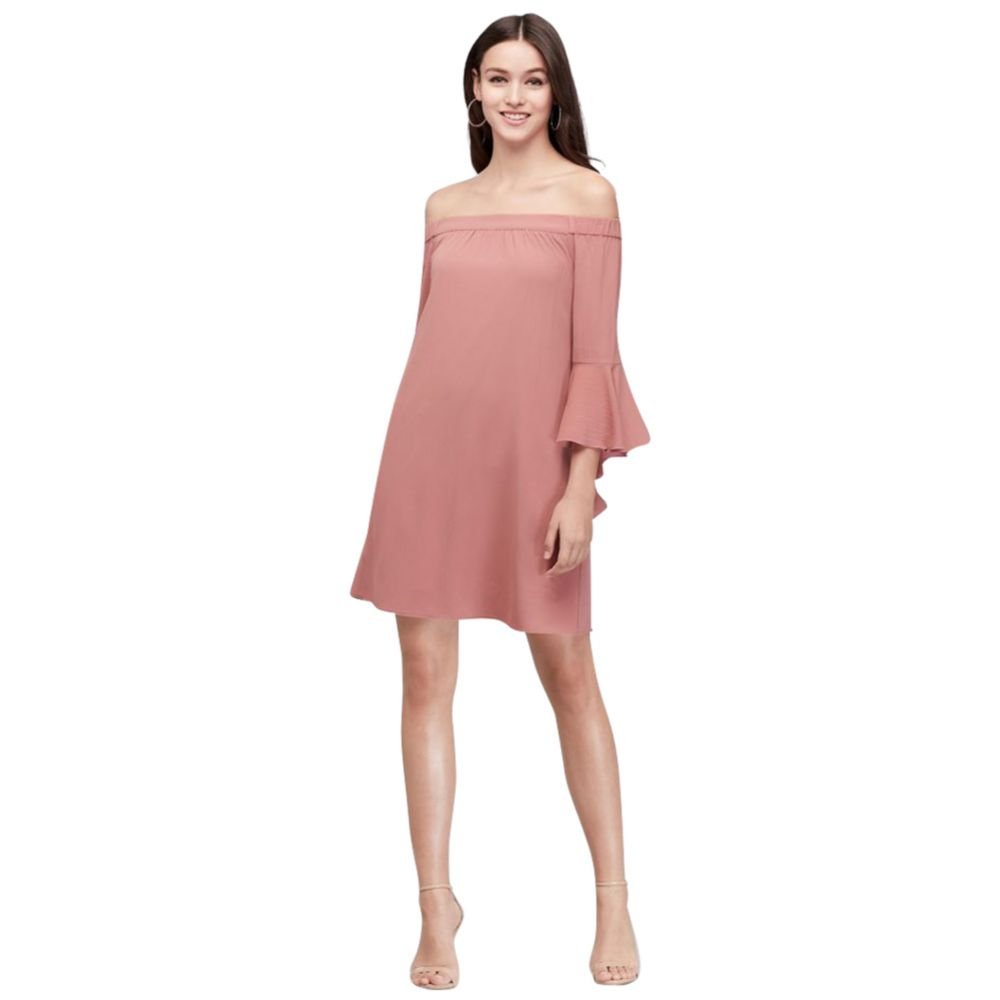 15cb5020107 David's Bridal 3/4 Bell Sleeve Off-The-Shoulder Crepe Shift Dress Style  JA95911DGMZ at Amazon Women's Clothing store: