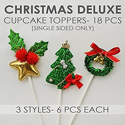 value pack 18 cupcake toppers picks various themes christmas deluxe - Christmas Toppers