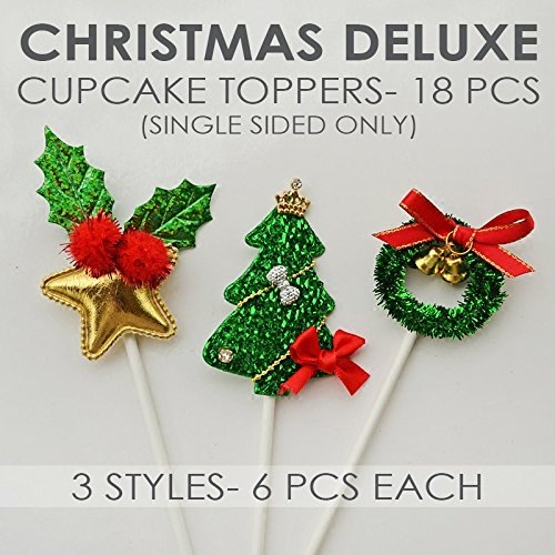 Value Pack- 18 Cupcake Toppers Picks- Various Themes (Christmas Deluxe)  (Dessert For Cakes Christmas)