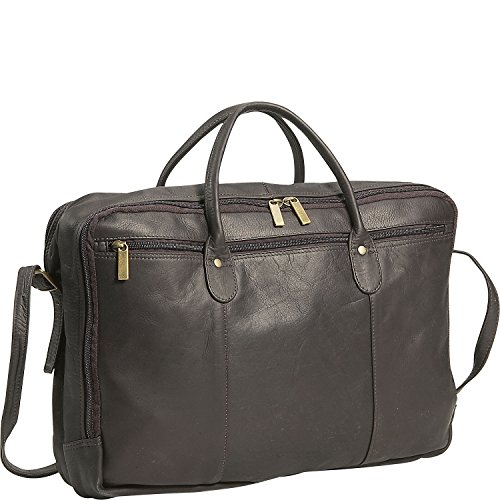 - David King Leather Double Top Zip Briefcase in Cafe