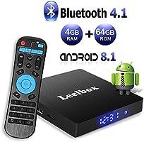 Android 8.1 TV Box with 4GB RAM 64GB ROM, Leelbox Q4 max RK3328 Quad Core 64 bit Built in Bluetooth 4.0,Supporting /4K (60Hz) Full HD/3D/H.265/WiFi 2.4GHz,USB 3.0[2018 Version]