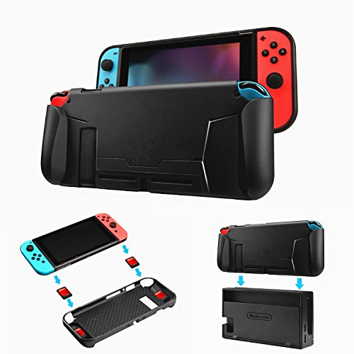 Protective Case for Nintendo Switch 2017, Game card slot Grip Cover with Shock-Absorption and Anti-Scratch Design (Black)