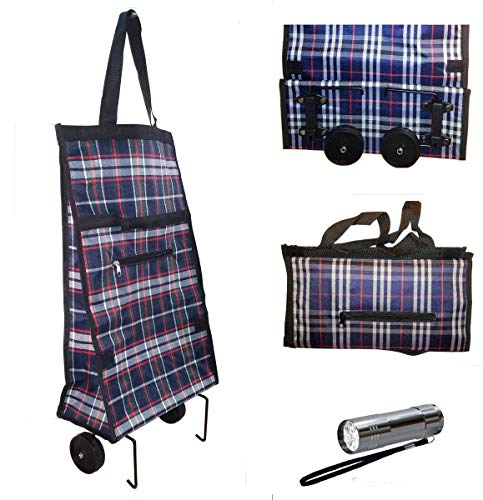 (Foldable Shopping Cart Trolley Bag with Wheels & 9 LED Flashlight)
