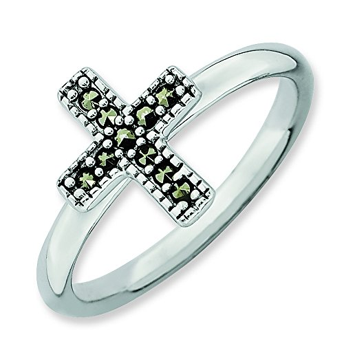 - Sterling Silver Stackable Expressions Marcasite Cross Ring, Size 5