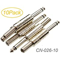 CablesOnline 10-Pack 1/4 Mono TS 6.3mm Metal Solder-Type Male Connector w/ Spring Relief, CN-026-10