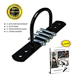 AbraFit Battle Rope Wall Anchor Walll Mount, Ideal Anchoring Solution For Battle Rope, Bodyweight Suspension Strap and Resistance Training, Comes With Battle Rope Workout E-Guide (Black)