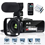 Video Camera Camcorder WiFi FHD 1080P 30FPS 26MP YouTube Vlogging Camera 16X Digital Zoom 3.0' Touch Screen Digital Camera Video Recorder with Microphone Remote Control Lens Hood Infrared Night Vision