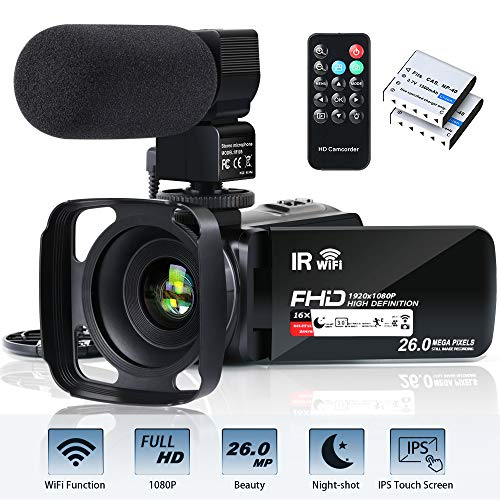 Video Camera Camcorder WiFi FHD 1080P 30FPS 26MP YouTube Vlogging Camera 16X Digital Zoom 3.0