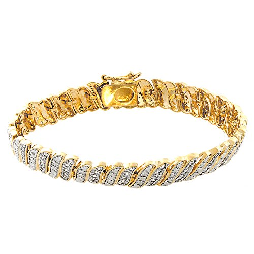 Designer Style Cubic Zirconia Bracelet (Pop Fashion Gold Plated, Wave, Pave, Link, Charm, Cubic Zirconia, Tennis Bracelet, Gold Bracelets, Fashion, Jewelry, Bracelets, Anniversary Gifts, Bridesmaids, Friendship Bracelets)