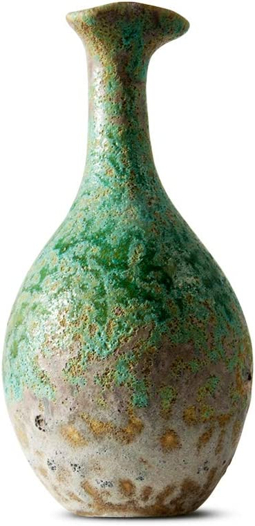 FairyLavie 9.4'' Vintage Ceramic Vase, Rustic Distressed Flower Vase Bottle Decorative Vase, Ideal Tabletop Decoration for Home Office and Party, Indoor and Outdoor Decoration, Perfect Gift Idea