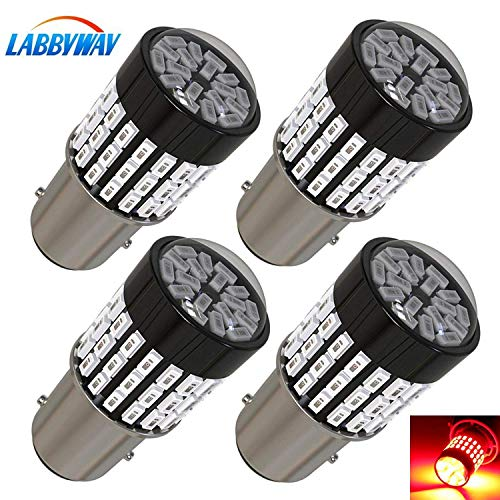 LABBYWAY 4 Pcs Super Bright 900 Lumens 1157 3014 78-EX Chipsets 1157 2057 2357 7528 LED Used For Tail Lights, Brake Lights, Reverse Lights,Red
