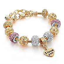 Capital Charms - PS I Love You - Gold Fashion Charm Bracelet for Girls and Women with Charms and Bonus Gift Box