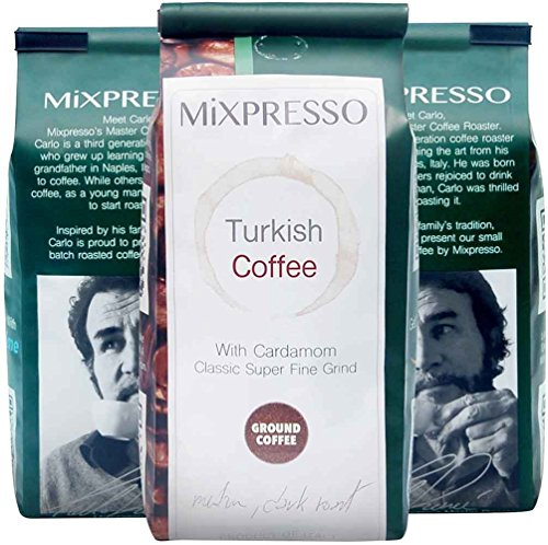 Turkish Coffee with Cardamom - Ancestral Super Fine Grind - by Mixpresso (4 Bags; 10 Ounces Each)