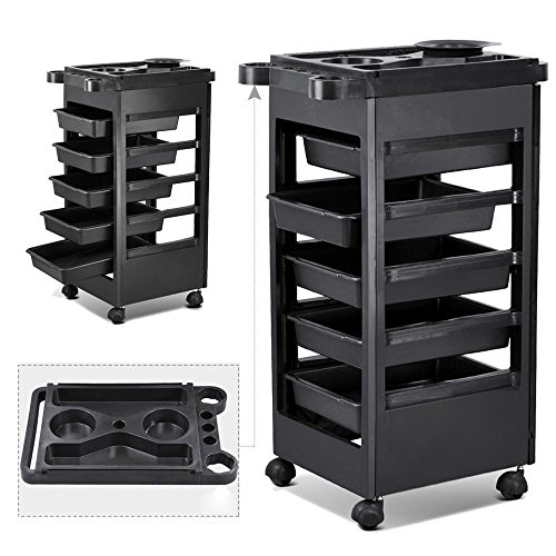 Yaheetech Salon SPA Trolley Storage Cart Coloring Beauty Salon Hair Dryer Holder...