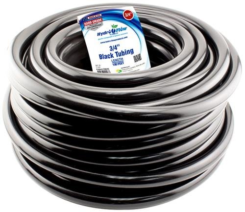 Hydro Flow 100 ft Roll Vinyl Tubing, Black - 3/4'' ID x 1'' OD