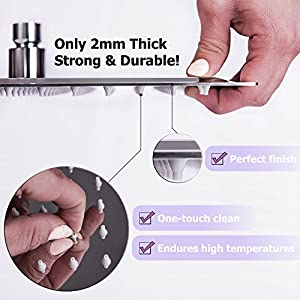Premium Rain Shower Head 12 Inch Square Ultra-Thin Luxury Spa Experience, High Pressure Full Body Cover, Adjustable Rainfall Showerhead, Stainless Steel 304 Chrome Finish, Silicone Nozzles by Happy-li