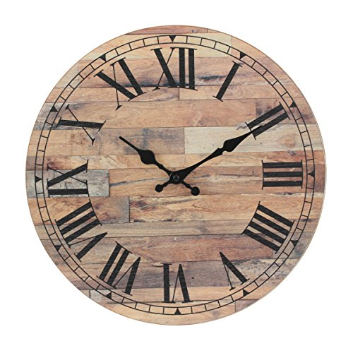 Stonebriar Old Fashioned 14 Inch Round Wood Hanging Wall Clock, Battery Operated, Rustic Wall Decor for the Living Room, Kitchen, Bedroom, and Patio (Wood Round Wall)