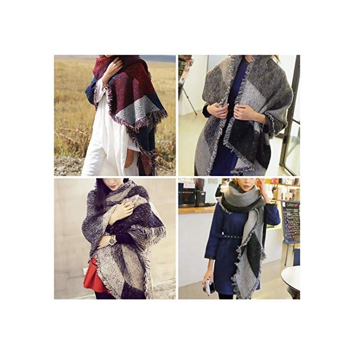 513FONOEsBL Elegante invierno cálido manta larga bufanda precioso chal de abrigo. Dimensiones del producto (CM): Longitud: 200, Ancho: 67; Material: 90% acrílico, 10% lana. Esta acogedora bufanda es perfecta para el clima frío y es una excelente compañera de otoño para tu guardarropa de otoño e invierno. 90% Acrílico, 10% Lana