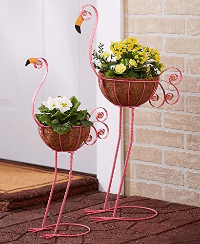 The Lakeside Collection Set of 2 Bird Planters Flamingo