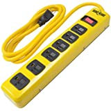 Yellow Jacket Metal Power Strip with 6 Outlets And 6 Foot Cord