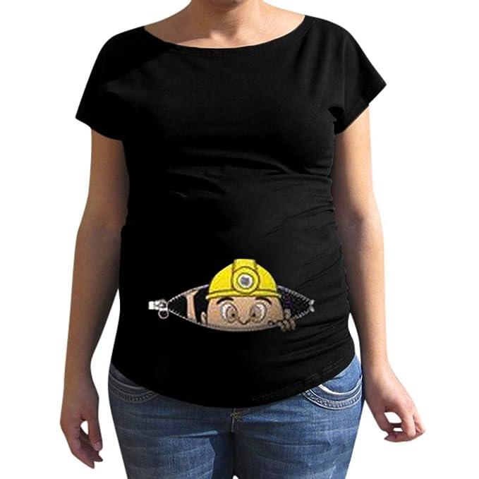 Mitlfuny Ropa premamá Tops Mujeres Embarazadas Maternidad Dibujos Animados Bebe Estampado Camisa Lactancia Camiseta Verano Enfermería Embarazada Manga Corta ...