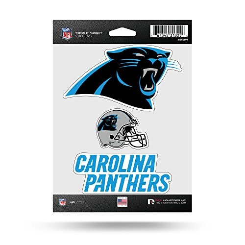 Rico Industries NFL Carolina Panthers Die Cut 3-Piece Triple Spirit Sticker Sheet