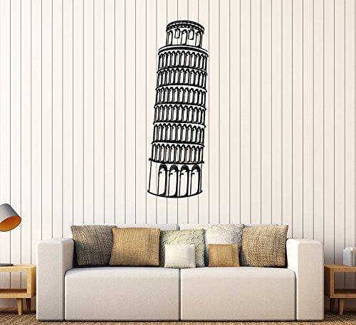 (DesignToRefine Vinyl Wall Decal Leaning Tower of Pisa Italy Italian Art Stickers (365ig) Dark Green)